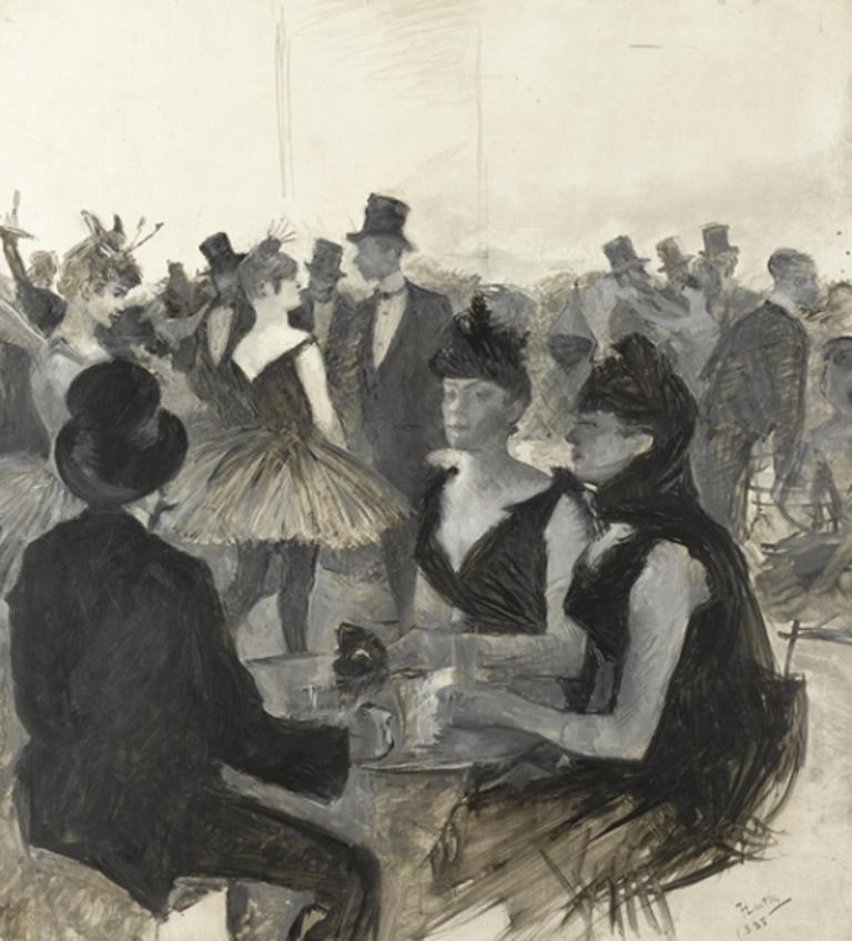 Henri de Toulouse-Lautrec. Bal masqué 1888. Huile sur carton