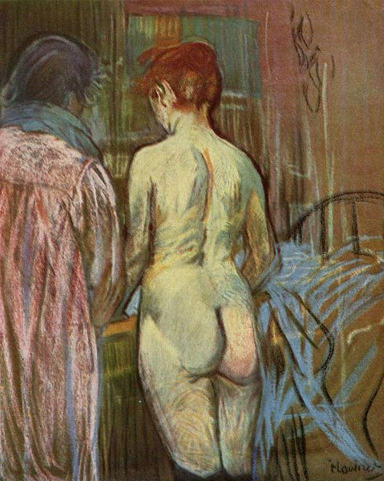 Henri de Toulouse-Lautrec. Deux femmes. Pastel on cardboard