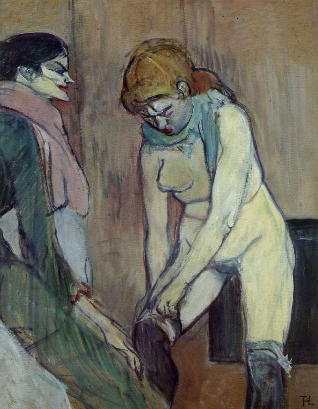 Henri de Toulouse-Lautrec.La femme remontant son bas.Huile sur carton 58cm x 48cm  1896