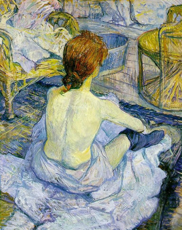 Henri de Toulouse-Lautrec.La toilette (rousse).Huile sur carton 67cm x 54cm  1896