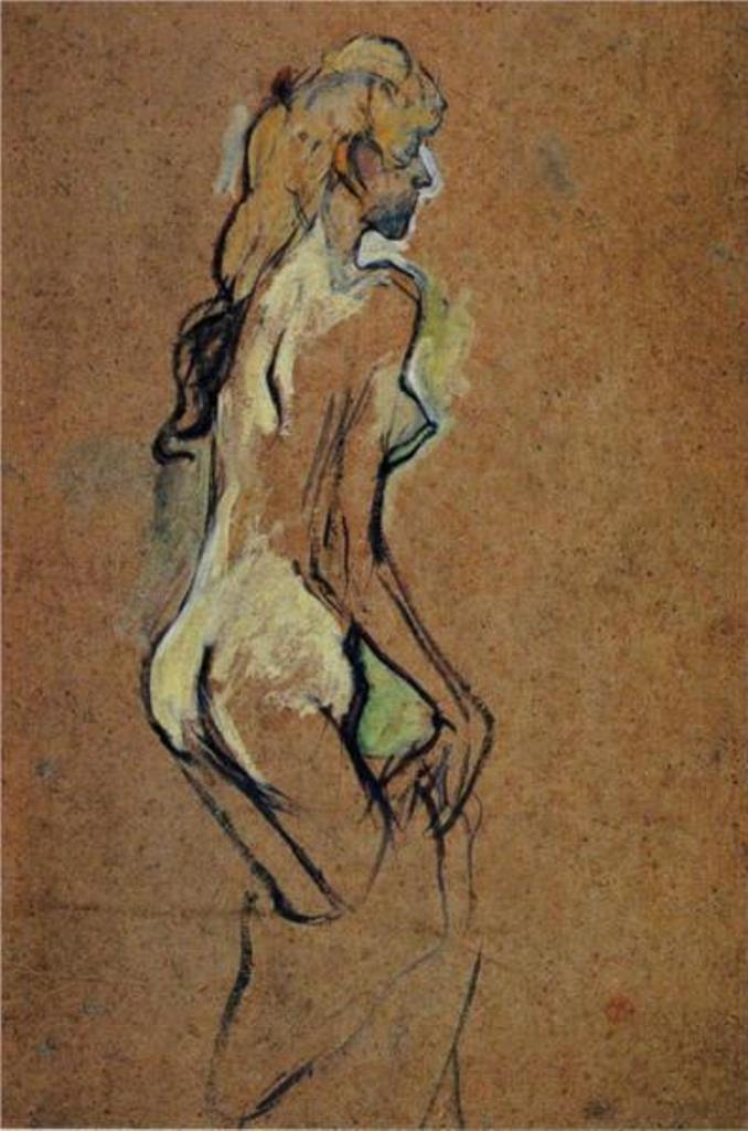 Henri de Toulouse-Lautrec.Nu 1893 Oil on cardboard