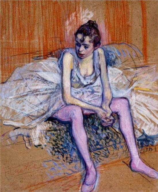 Henri de Toulouse-Lautrec. Seated dancer in pink tights 1890