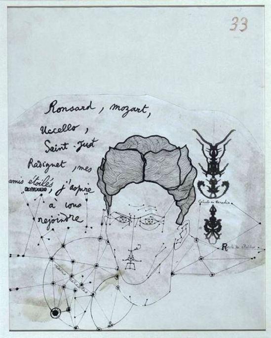Jean Cocteau. Autoportrait non daté Via liberation. fr