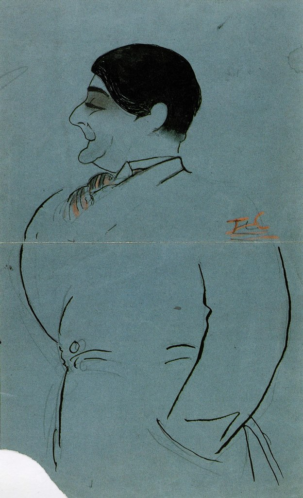Jean Cocteau. Edouard de Max 1910. Encre de chine et graphite, rehauts de crayon rose. scan personnel du catalogue Exposition Co