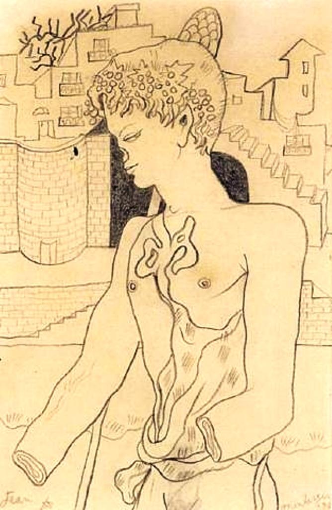 Jean Cocteau. L'homme 1938. Dessin au crayon noir sur papier Via artnet
