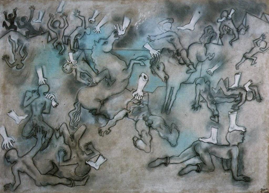 Jean Cocteau. Mains et pieds de plâtre attaquant des hommes au bord de la mer 1926. Pastel sur carton. Scan personnel du catalog