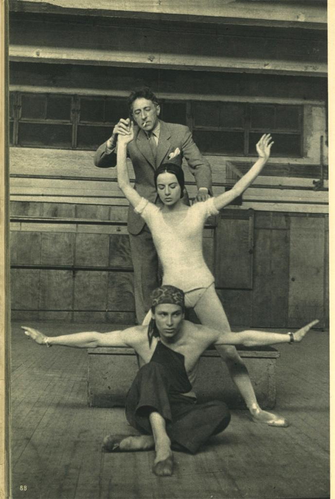 """Jean Cocteau, Nathalie Philipart and Jean Babilée on the set of """"Le jeune homme et la mort"""" by Roland Petit, arguments choreographic by Jean Cocteau 1946 Via theredlist"""