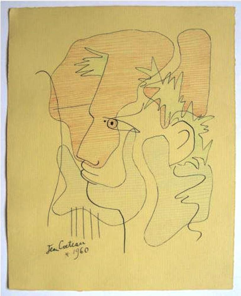 Jean Cocteau. Sans titre 1960. Dessin Via ebay