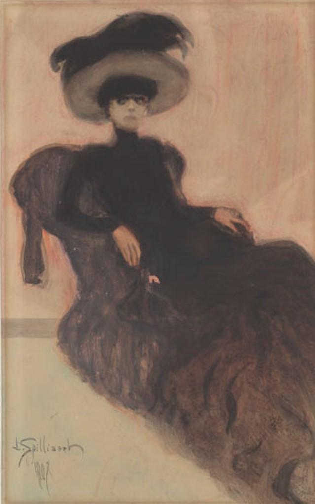 Léon Spiliaert. La dame au chapeau 1907. Aquarelle et gouache sur papier