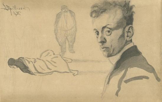 Léon Spilliaert. Autoportrait 1907-1909. Dessin