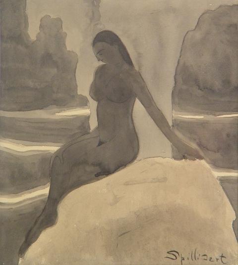 Léon Spilliaert. Baigneuse sur rocher