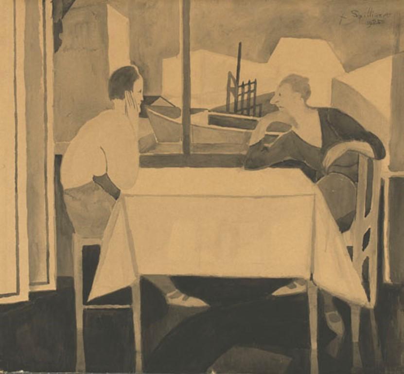 Léon Spilliaert. deux femmes à table 1925. Encre et pastel sur papier
