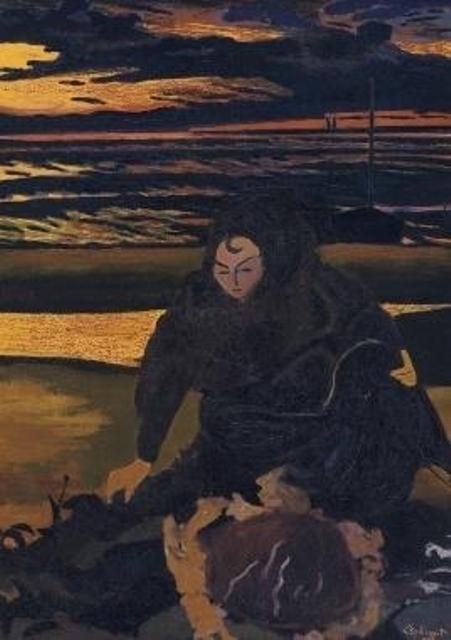 Léon spilliaert.  Femme de Pêcheur Avec un Crabe Géant 1923
