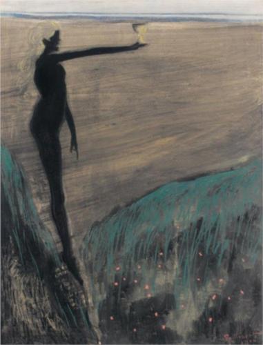 Léon Spilliaert. Femme nue tenant une coupe 1910