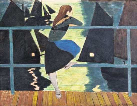 Léon Spilliaert.  Jeune fille accoudée au bastingage, face au port 1909