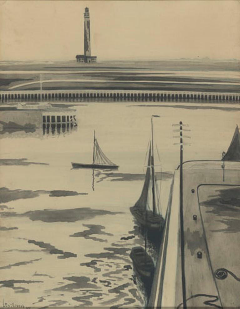 Léon Spilliaert. Le port 1909. Encre et pastel sur paier