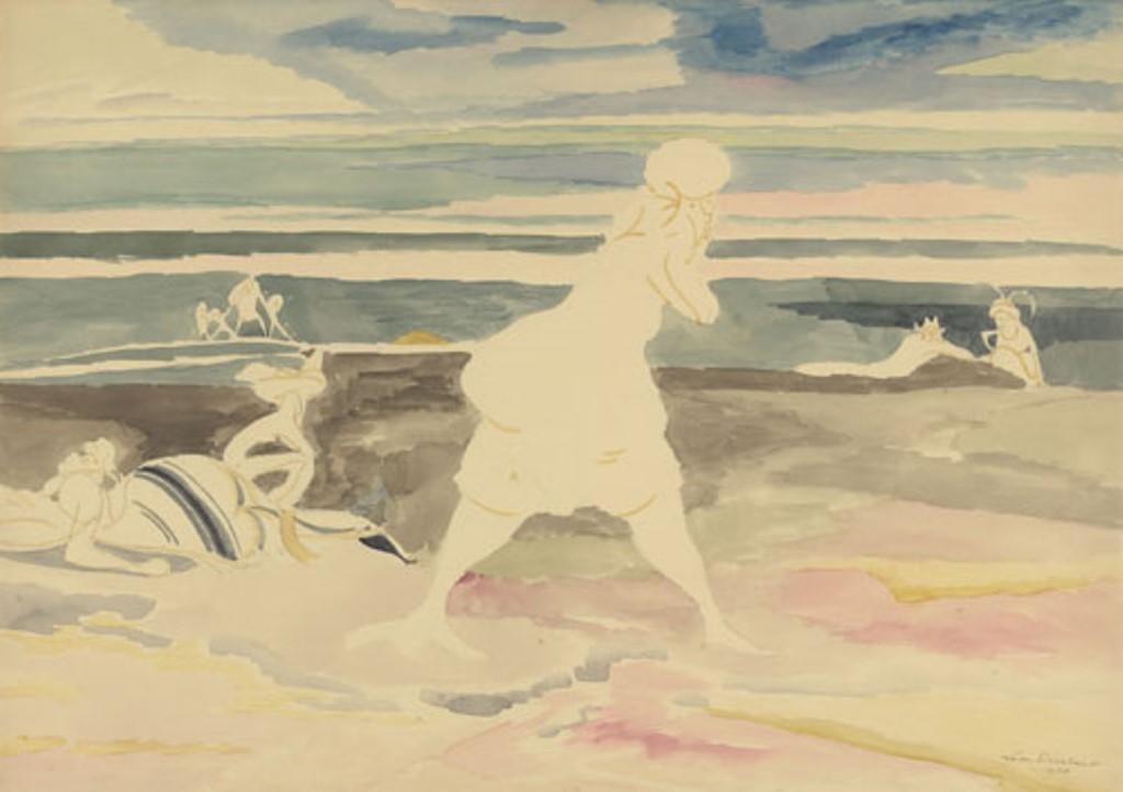 Léon Spilliaert. Sur la plage 1920. Aquarelle sur papier