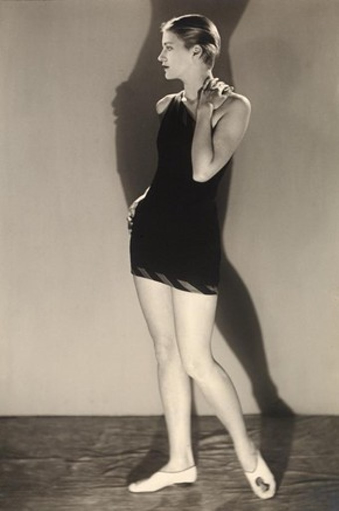 Lee Miller in bathing costume, photograph by Man Ray. Via vam