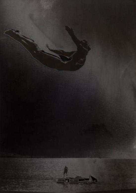 Maurice Tabard. Le plongeon, solarisation 1948. Tirage argentique d.'époque Via Drouot