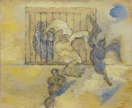 Max Ernst. Four Birds and Cage 1926. Huile sur toile.Via mutualart
