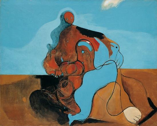 Max Ernst. Le baiser(The Kiss) 1927 Huile sur toile 129 cm x 161,2 cm Musée Guggenheim