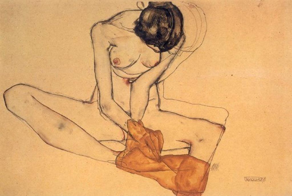 Nude Draped in Yellow, 1913 by Egon Schiele.