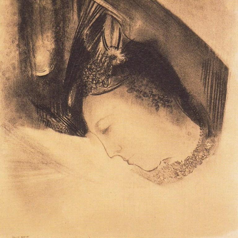 Odilon Redon. La muse vers 1890-1895. Fusain et craie sur papier. Via lechantdupain