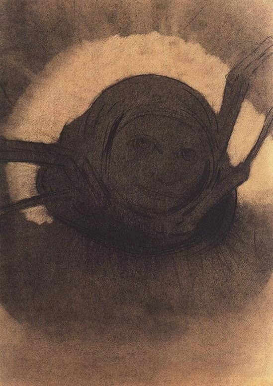 Odilon Redon. L'araignée 1902.Fusain, craie noire sur papier. Via lechantdupain