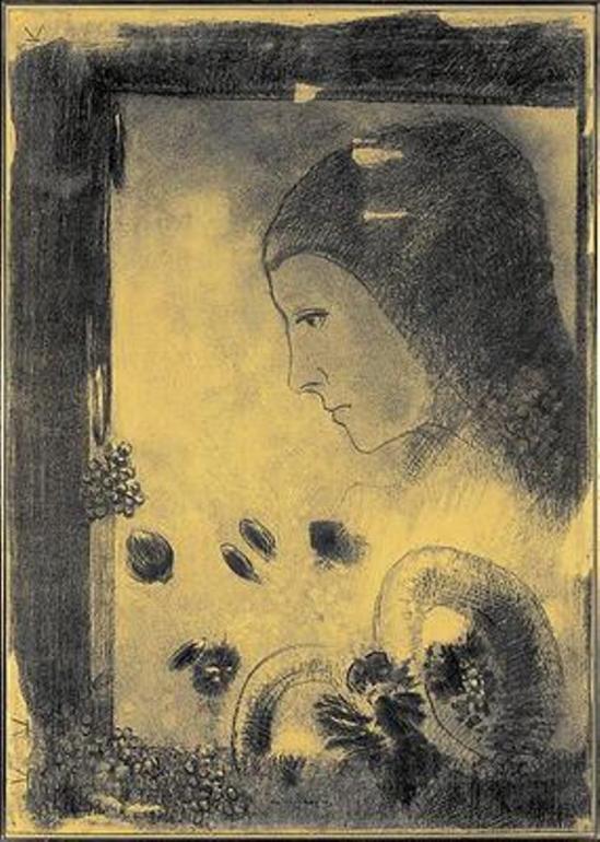Odilon Redon.Profil vers 1881. Via lechandupain