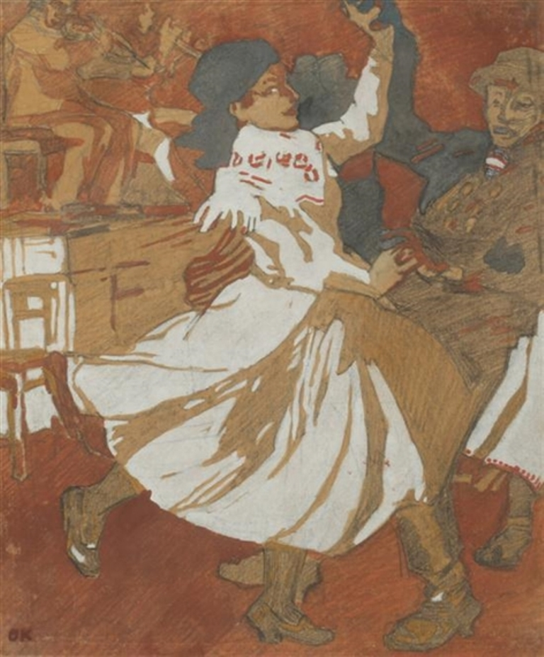 Oskar Kokoschka. Couple de danseurs hongrois. Encre