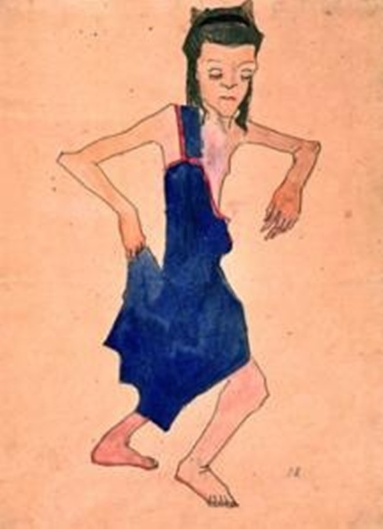 Oskar Kokoschka.  Dancing Young Girl in a Blue Dress, Right Hand at the Skirt's Hem 1908