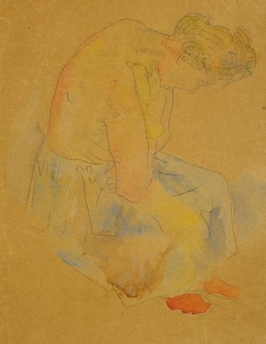 Oskar Kokoschka. Etude 1907. Aquarelle