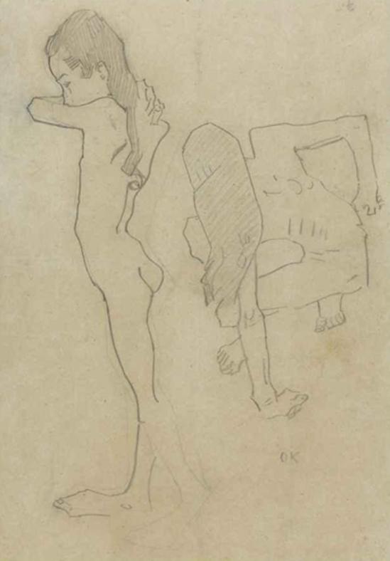 Oskar Kokoschka. Etude 1907. Craton sur papier
