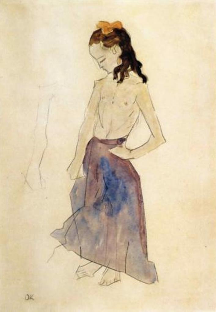 Oskar Kokoschka. Girl with a yellow headband 1908-1909
