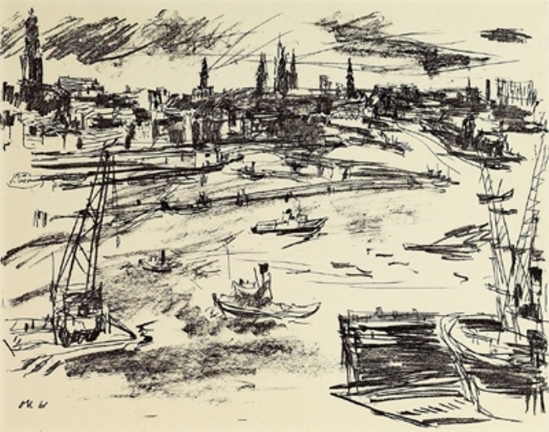Oskar Kokoschka. Le port d'Hambourg 1961. Lithgraphie
