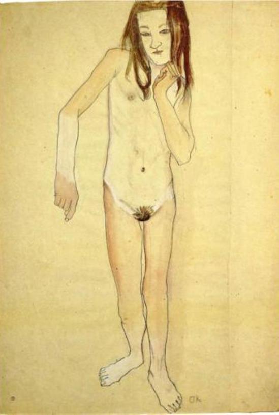 Oskar Kokoschka. Nude girl standing 1907