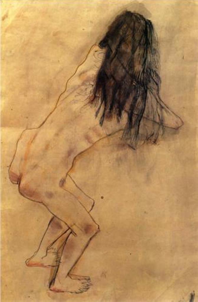 Oskar Kokoschka. Nude with back turned 1907