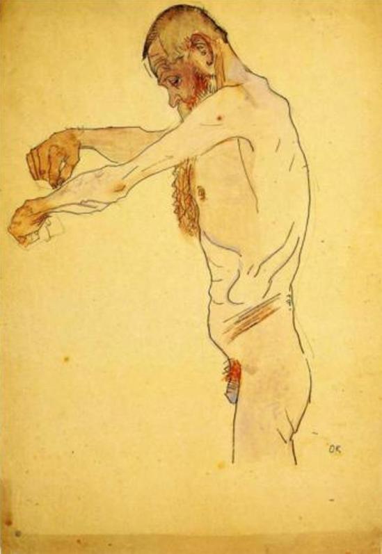 Oskar Kokoschka. Old man standing nude 1907