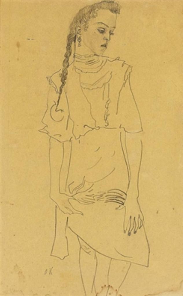Oskar Kokoschka. Standing woman. Dessin