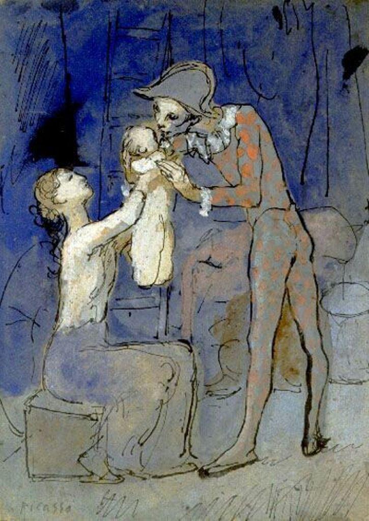 Pablo Picasso 1905. Famille harlequin.Gouache et encre