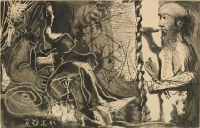 Pablo Picasso. Dans l'atelier 1965. Aquatinte et pointe sèche