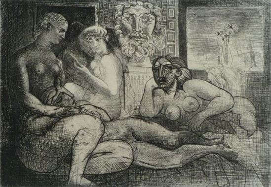 Pablo Picasso. Four nude women and a sculpted head (Vollard Suite pl. 82)