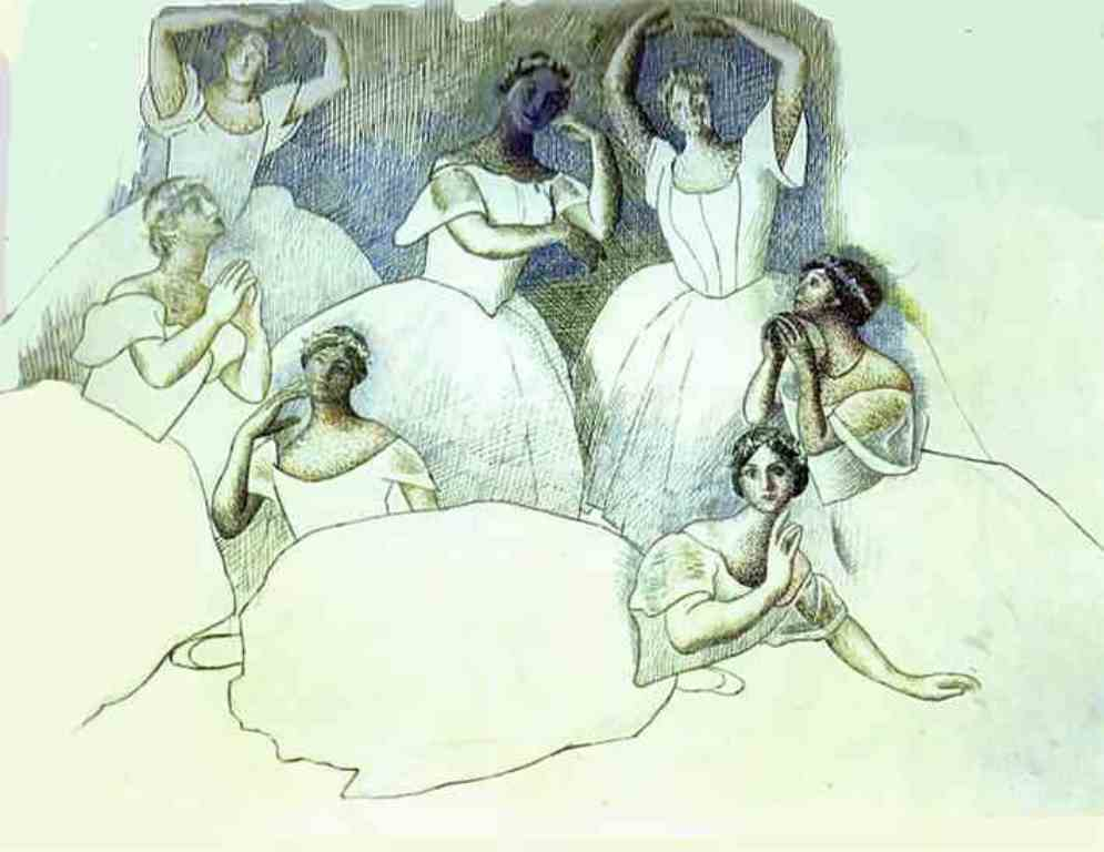 Pablo Picasso. Group of Dancers. Olga Kokhlova is Lying in the Foreground  1919 - 1920