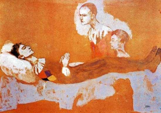 Pablo Picasso. La mort d'Arlequin 1906 Gouache sur carton 65 cm x 95 cm