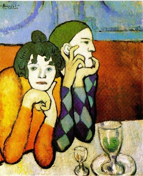 Pablo Picasso. Les deux saltimbanques (Arlequin et sa compagne)
