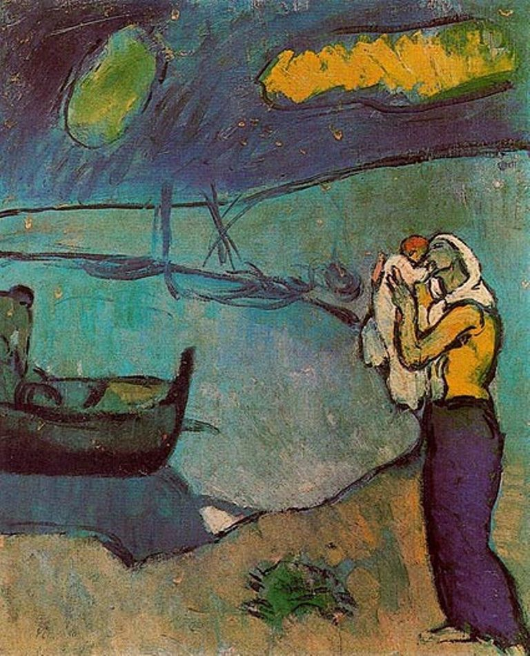 Pablo Picasso.  Mother and son on the shore 1902