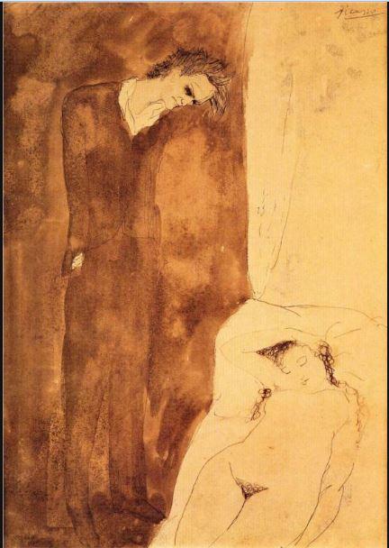 Pablo Picasso. Sleeping nude 1904