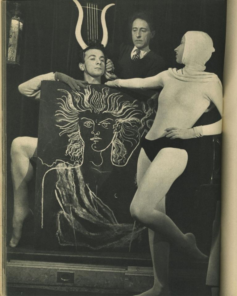 "Portrait of Roland Petit, Jean Cocteau and Jeannine Charrat for the ballet ""Orphée"" 1950 Photo by Serge Lido Via theredlist"