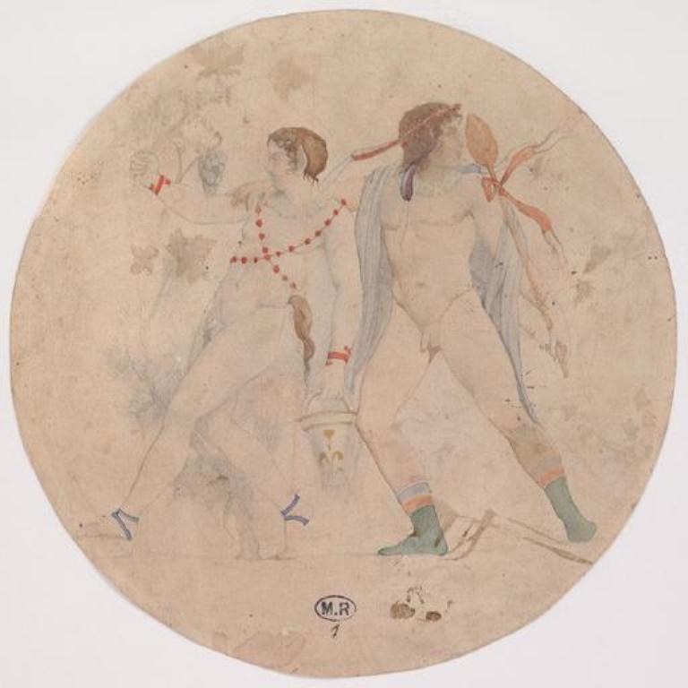 RODIN Auguste. Bacchanale d'après vase antique avant 1870 mine de plomb ; aquarelle ; papier