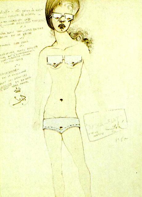 Salvador Dali. Extra Flat. Design for a bikini, 1965